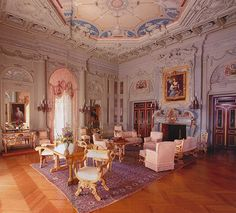 """The Breakers Morning Room served as Drawing Room for formal social occasions such as receiving callers. The """"informal"""" living spaces downstairs were the Library and Billiard Room. Note: the narrow reddish inserts in all four corners that look like verre eglomise are, in fact, platinum. The Great Depression made such excesses of the Gilded Age morally malodorous, in retrospect. JC"""