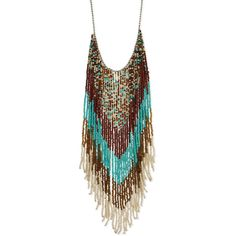 Native American Beaded Fringe Long Necklace ($31) ❤ liked on Polyvore featuring jewelry, necklaces, long beaded necklace, beading necklaces, beaded jewelry, long necklace and bead jewellery