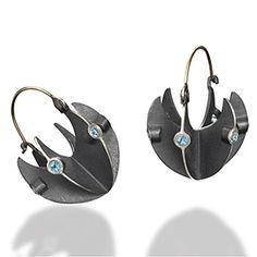 "Earrings | Samantha Freeman.  ""Basket"".   Oxidized Sterling Silver, 14K Yellow Gold, Blue topaz"