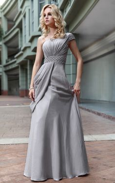 New One Shoulder Silk Gray Gown Prom Long evening dress
