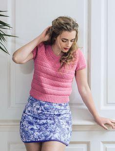 NEW Rowan S/S 2015 booklet for new yarn: Cotton Lustre, a 55% cotton 35% modal 10% linen tape yarn.  Akaibara by Sarah Hatton.