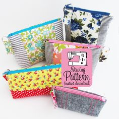 Sew five sizes of zippered pouches with box bottoms using this PDF sewing pattern. These sewing instructions demonstrate how to make a zipper pouch...