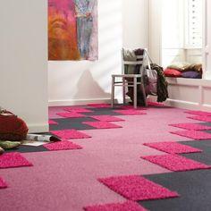¡Qué buena idea! combinar colores y texturas para la alfombra del cuarto