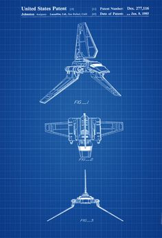 Star Wars Shuttle Patent Poster - Patent Print Wall Decor Lambda Class T-4a Shuttle Imperial Shuttle. Star Wars Art Star Wars Gift by PatentsAsPrints