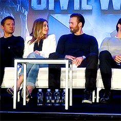 Elizabeth Olsen and Chris Evans at Captain America: Civil War Press Conference on April 10, 2016.<< I kinda ship it!