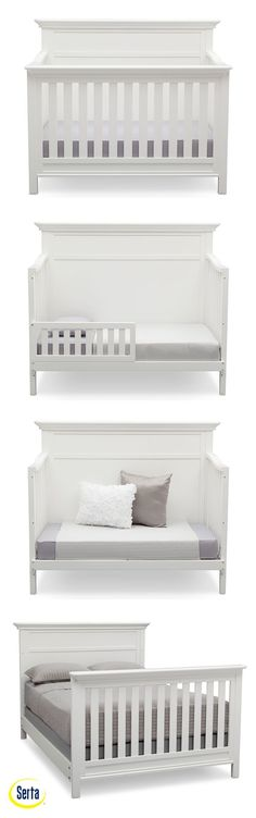 With gorgeous molding and rich detailing, the Fairmount 4-in-1 Crib from Serta in Bianca has the appearance and construction of heirloom furniture for everlasting style. This convertible crib features four mattress heights that allow you to lower it as your child matures. Plus, once your little one has outgrown the need for a crib, it converts into a toddler bed, daybed, and then finally, a full size bed. #white #crib #baby #nursery #modern #toddlerbed #fullsizebed #Serta #DeltaChildren