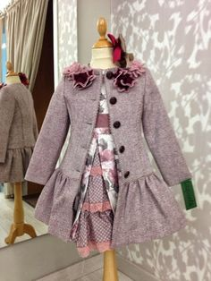 Technically, the world was in season, but LaureLee felt with pending she needed cold weather to push sales. Winter Outfits For Girls, Kids Outfits, Little Girl Fashion, Kids Fashion, Little Girl Dresses, Girls Dresses, Childrens Coats, Sweet Dress, Kind Mode