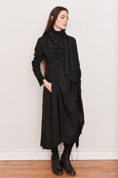 Image of Multi-Way Long Linen Coat