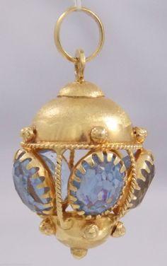 "Stunning Estate Etruscan 18K Gold Blue Topaz Lantern Style Pendant Charm Fob 1¼""   eBay"