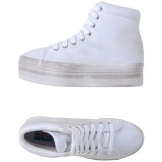 Jc Play By Jeffrey Campbell High-tops & Trainers ($65) ❤ liked on Polyvore featuring shoes, sneakers, white, wedge shoes, jeffrey campbell sneakers, high top wedge sneakers, white trainers and white high tops