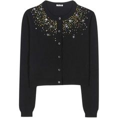 Miu Miu Embellished Cashmere Cardigan ($1,540) ❤ liked on Polyvore featuring tops, cardigans, black, embellished tops, embellished cardigan, miu miu top, cardigan top and cashmere cardigans