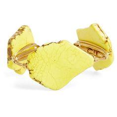 Bourbon and Boweties Medium Stone Bracelet (€35) ❤ liked on Polyvore featuring jewelry, bracelets, yellow, hinged bracelet, bracelets & bangles, stone bangles, yellow stone jewelry and stone jewelry