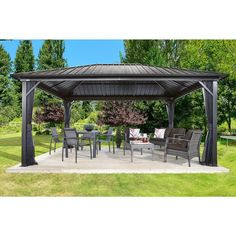 Genova Sojag Gazebo 12 x 16 will create new look and feel to your backyard, it will enhance your outdoor living space with additional shaded living space. Diy Pergola, Metal Pergola, Deck With Pergola, Wooden Pergola, Covered Pergola, Backyard Pergola, Pergola Shade, Patio Roof, Metal Roof