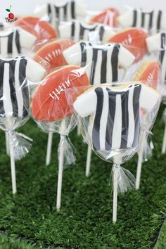 Australian Rules Football Theme Birthday Party Table With Cake, Mini Cupcakes & Cookie Pop