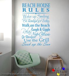 Wall Art Decal: Beach House Rules • Size: 90cm(high) x 60cm(wide) • Other colours available, please see the colour chart above for options  Things to Note: - We will provide full instructions and a free trial decal with the order - All Sizes are approximate and can vary slightly from the listed size above - Your order will be posted within 1-3 working day after payment has cleared - Please specify the colour choice (if different) in Order Notes at the Checkout