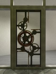 Silhouette of custom door with gears and piston actuators.