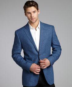 74% OFF Denim Blue Linen Woven Blazer #Blazer #Men #Outerwear