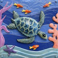 Ceramic Sea Turtle Tile Art