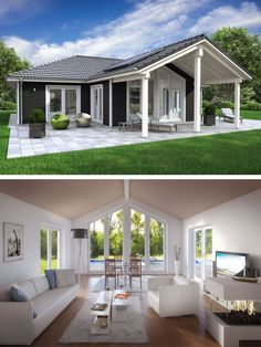Country house bungalow SH 136 WB variant and - ScanHaus Marlow Bungalows, Beach Cottage Exterior, Wood Facade, Hip Roof, Roof Architecture, Tiny House Movement, Country Style Homes, Tiny House Plans, Little Houses