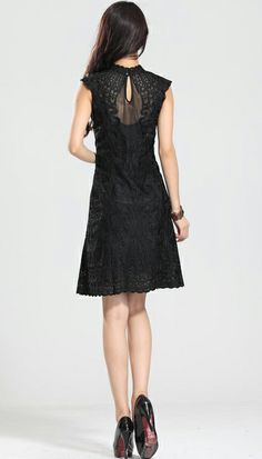 43b1ba993d7 Black Cap Sleeve Embroidery Dress -- I like the back of this. With the