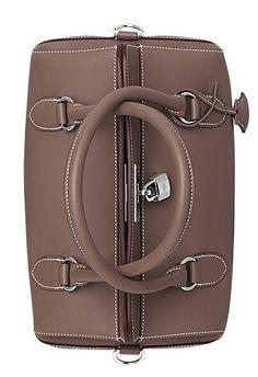 Hermes - Toolbox handbag in etoupe swift calfskin leather.