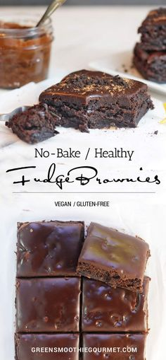 Healthy No-Bake Fudge Brownies. Gluten-free, Dairy-free, multi-tasking recipe to use for brownies, cake base, or even energy balls.  RECIPE: https://greensmoothiegourmet.com/healthy-no-bake-fudge-brownies-gluten-free-dairy-free/