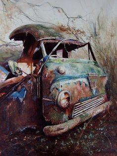 Van in a Wood by David Paxon. Watercolor.