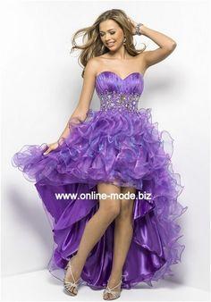 Vokuhila Kleid Abendkleid Vorne Kurz Hinten Lang in Lila von www.online-mode.biz