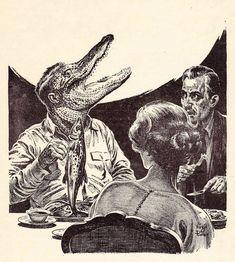 """Virgil Finlay (1914-1971), 'Save Your Confederate Money, Boys', """"Fantastic Universe"""", Vol. 12, #1, 1959"""