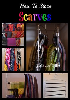 How To Store Scarves ~ Here is an easy and inexpensive idea to help organize your scarves without taking up a lot of valuable storage space!