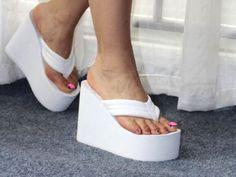 Platform Flip Flops, Wedge Flip Flops, Flip Flop Shoes, Platform High Heels, Sandals Platform, Womens Flip Flops, Sexy Heels, Wedge Shoes, Heeled Mules