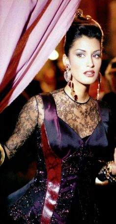 Yasmeen Ghauri backstage at Christian Lacroix, 1992.