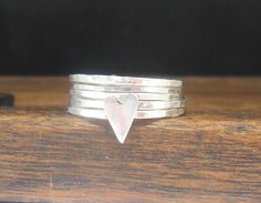Set of 5 Sterling Silver Stacker Rings with a Heart, Skinny Rings £30.00