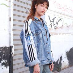 90s vintage ADIDAS jacket denim Reworked Jumpsuit ADIDAS trackpants 9cad62c68a