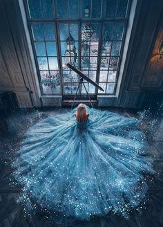Magic by Kristina Makeeva / Baby Blue Aesthetic, Light Blue Aesthetic, Princess Aesthetic, Princess Ball Gowns, Princess Wedding Dresses, Princess Outfits, Pretty Quinceanera Dresses, Pretty Dresses, Sweet 15 Dresses