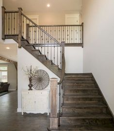 Cover picture-- all same stain color of stairs 80 Modern Farmhouse Staircase Decor Ideas renovation Staircase Rustic Staircase, Interior Staircase, Staircase Remodel, Staircase Design, Staircase Ideas, Modern Staircase, Traditional Staircase, Staircase Banister Ideas, Railings For Stairs