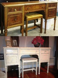 Cat transformed this beautiful piece - from the garage to the living room! Cottage Paint Antique White