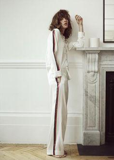 OCHRE BOLD STRIPE SILK PYJAMA TOP Cozy Pajamas 39ed54e34