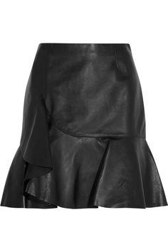 Alexander McQueen|Wrap-effect leather mini skirt, $3,125.00|NET-A-PORTER.COM