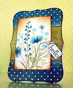 "Blue flower ""hello"" card"