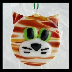 Glassworks Northwest - Orange Tabby Cat - Fused Glass Ornament. $18.50, via Etsy.