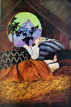 """O Heidi,"" said Klara, ""it is just as if we were riding in the sky."" Illustration by Edna Cooke Shoemaker in Heidi by Johanna Spyri. Translated by Helen B. Dole. New York: Grosset & Dunlap, 1927"
