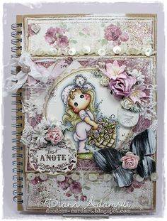 Altered Notebook by LLC DT Member Diana DeeDee Adamski, using papers from Maja Design's Coffee in the Arbour collection. Sentiment from Stempelglede.