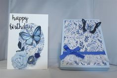 The last two items I made with the three Kaisercraft Indigo Skies paper that I purchased were cards and matching boxes, so I will show one today and we will finish the series with the other card an… Butterfly Cards, Cardmaking, Indigo, Sky, Paper, Card Ideas, Boxes, Handmade, Design
