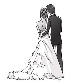 Couple Sketch, Couple Drawings, Art Drawings Sketches, Wedding Drawing, Wedding Painting, Couple Silhouette, Wedding Silhouette, Wedding Illustration, Couple Illustration