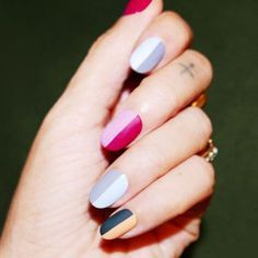Alicia Torello tops two-tone nails with a matte topcoat.