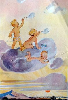 1950s book illustration Babies blowing on a cloud