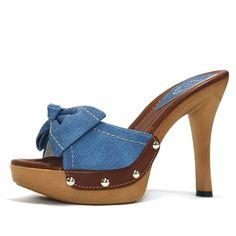 Womens Denim Ribbon Platform High Heels Mules / Blue * For more information, visit image link. Cute Shoes Flats, Shoes Heels, Platform High Heels, Beautiful Shoes, Girls Shoes, Heeled Mules, Fashion Shoes, Shoe Boots, Image Link