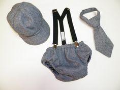 Baby  Boy Toddler Necktie, Newsboy Hat, Diaper cover and suspender set custom Order your design on Etsy, $65.00