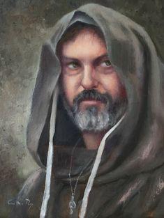 Retrato al óleo de uno de los actores de la Feria Medieval de Súria, 2017. Carmen Rey, 2018. Óleo en tela, 28 por 35 cm.